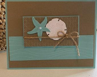 Coastal Starfish & Sand Dollar with Twine Handmade Embossed Greeting Card Thank You Birthday Celebrate