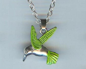 Big HUMMINGBIRD with Green Wings and Tail Charm, Pendant with .925 Necklace - R30