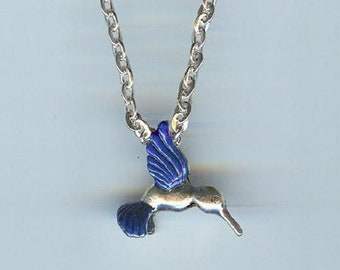 Small HUMMINGBIRD with Dark Blue Wings and Tail, 3D Charm, Pendant with .925 Necklace - R26