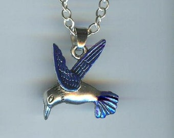 Big HUMMINGBIRD with Dark Blue Wings and Tail Charm, Pendant with .925 Necklace - R31