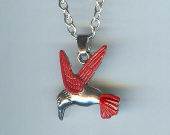Big HUMMINGBIRD with Red Wings and Tail Charm, Pendant with .925 Necklace - R36
