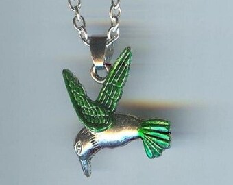 Big HUMMINGBIRD with Dark Green Wings and Tail Charm, Pendant with .925 Necklace - R32