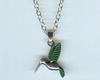 HUMMINGBIRD with Dark Green Wings and Tail Charm, Pendant with .925 Necklace - R15