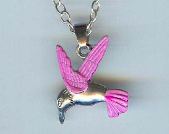 Big HUMMINGBIRD with Pink Wings and Tail Charm, Pendant with .925 Necklace - R37