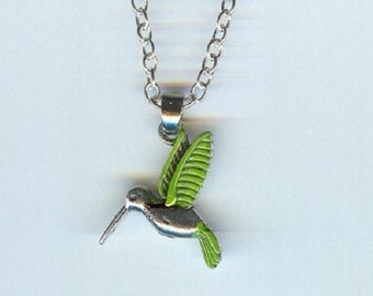 HUMMINGBIRD with Green Wings and Tail Charm, Pendant with .925 Necklace - R14