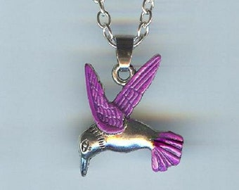 Big HUMMINGBIRD with Purple Wings and Tail Charm, Pendant with .925 Necklace - R38