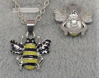 Bumble, Honey BEE, Yellow and Black Charm, Pendant with .925 Necklace - R508