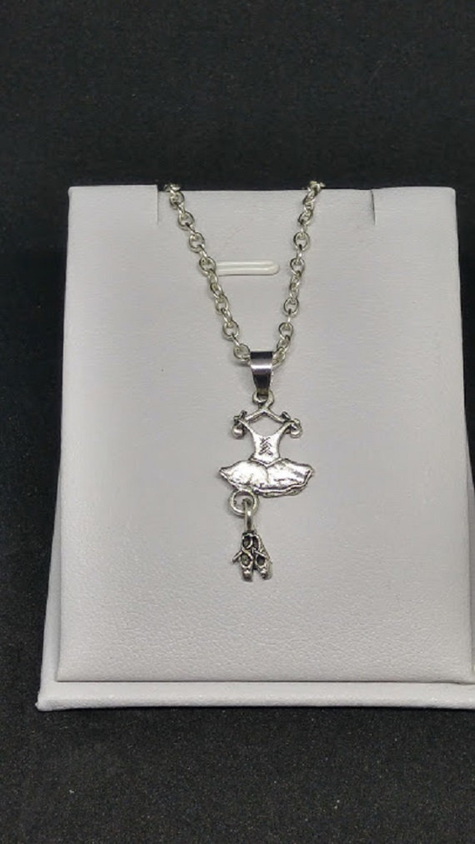 ballet tutu with ballet slippers, shoes, ballerina, charm, pendant with .925 necklace - r650