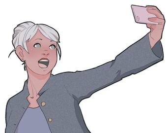Digital Die-Cut: Selfie! (grey)