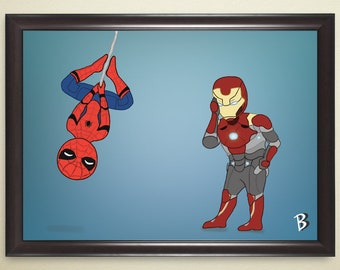 Spider-Man and Iron Man Print