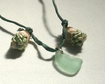 Seafoam Beach Glass and Silk Necklace