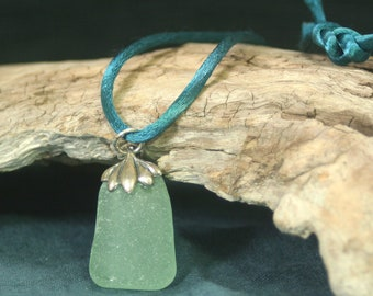 Beach Glass and Silver Pendant Necklace