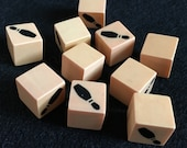 Vintage 1960s Dice from a Bowling Game Five Sides Blank, One with a Print of a Bowling Pin