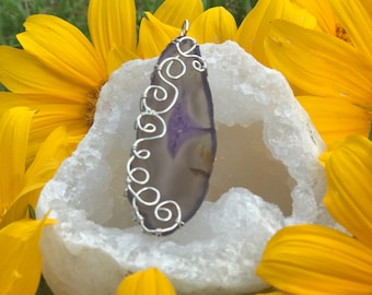 Silver Wrapped Agate Slice