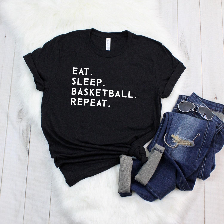 Eat Sleep Basketball Repeat - Mom Shirt - Graphic Tee - Gifts For Moms - Shirt - Tshirt - T Shirt - Sports Mom - Basketball Mom Unisex Tshirt