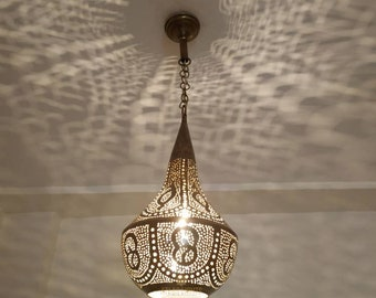 Antiqued Brass Moroccan Pendant with Top Ring Made in the USA