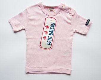 Vintage pink t-shirt for baby Vintage girl t-shirt 6 months Infant short sleeve tee shirt Vintage kid clothing New with tags Petit Bateau