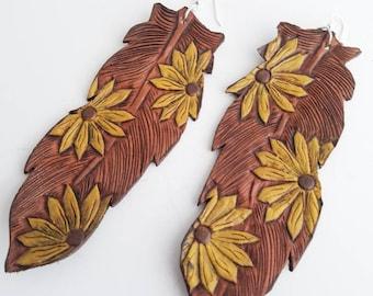 Sunflower Feather Earrings/ Tooled Leather Earrings/ Western Jewelry/ Womens sunflower jewelry