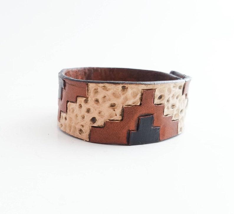 Neutral Aztec Bracelet Tooled Leather Western Bracelet Southwestern design Tan Womens Bracelet Rustic Cowgirl Bracelet