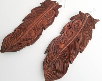 Tooled Leather Feather Earrings/ Western Earrings