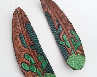 Feather Cactus Earrings/ Tooled Leather Feather Earrings