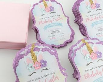 Unicorn Birthday Invitations Glitter Floral Handmade Girls Party