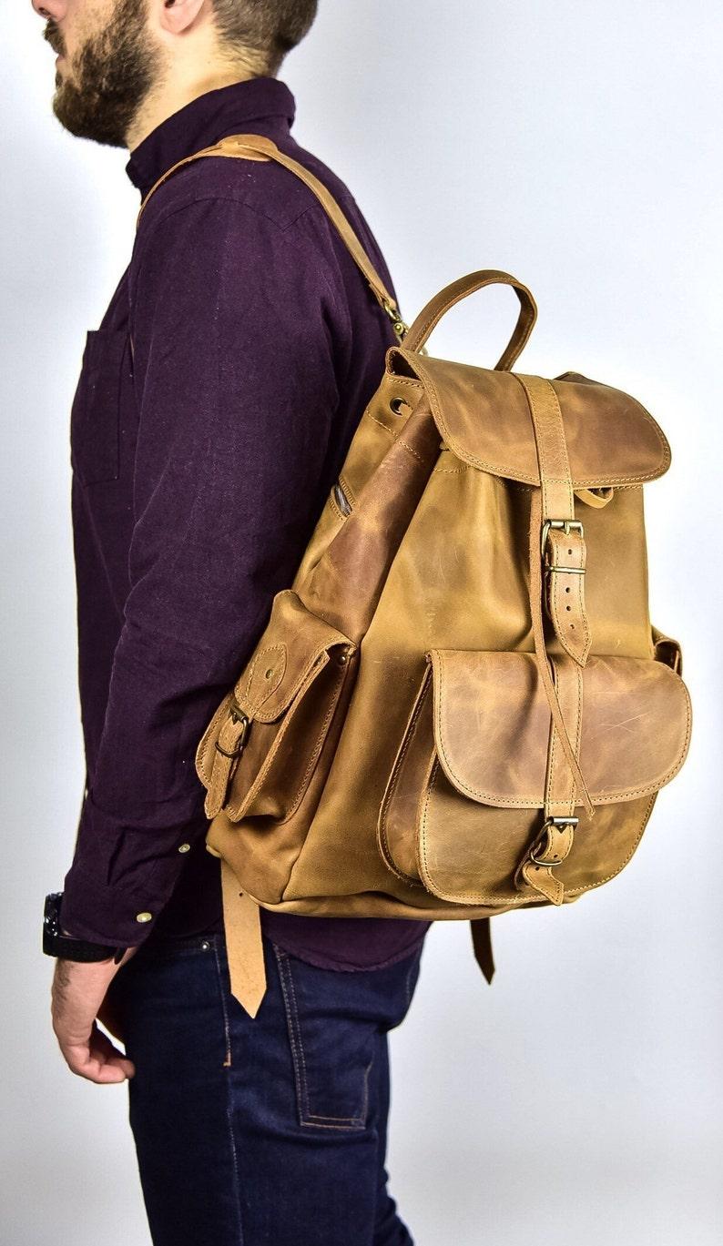 Laptop bag Travel backpack Waxed Leather Rucksack Backpack Distressed leather Gift for men Men backpack Premium Large leather backpack