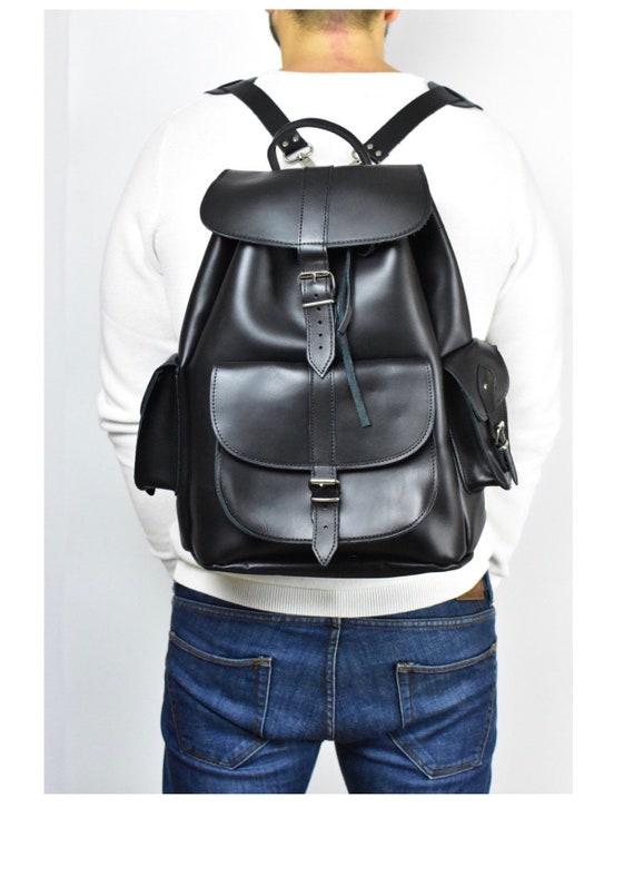 7e09d9f1e Premium Large leather backpack Men backpack Travel backpack | Etsy