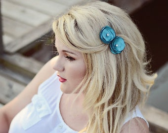 Turquoise Singed Flower Clips * Wedding Hair Accessories *