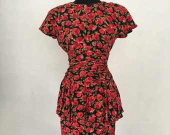 Pinup Red Floral Dress