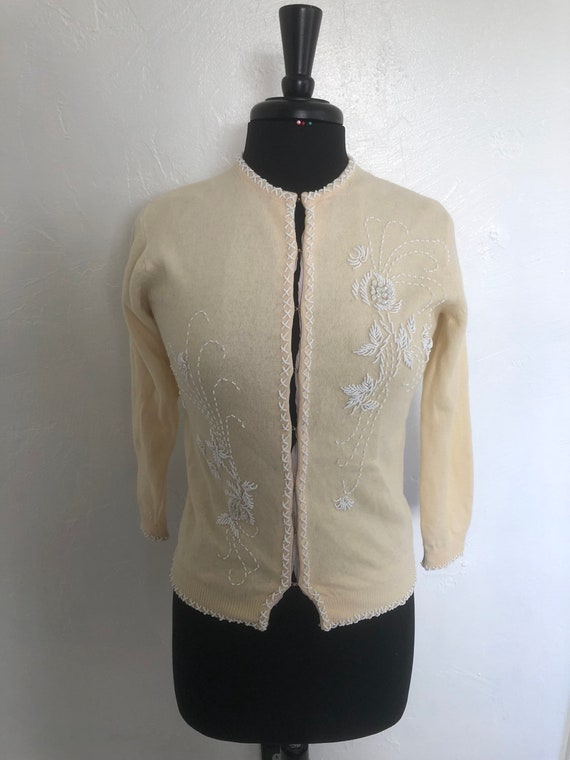 Imperial Imports 50's Pale Cream Beaded Cardigan