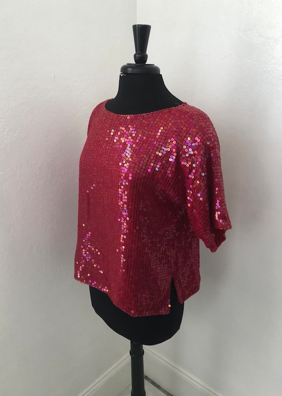 Hot Red Sequined JEWEL QUEEN 70's-80's Blouse - image 2