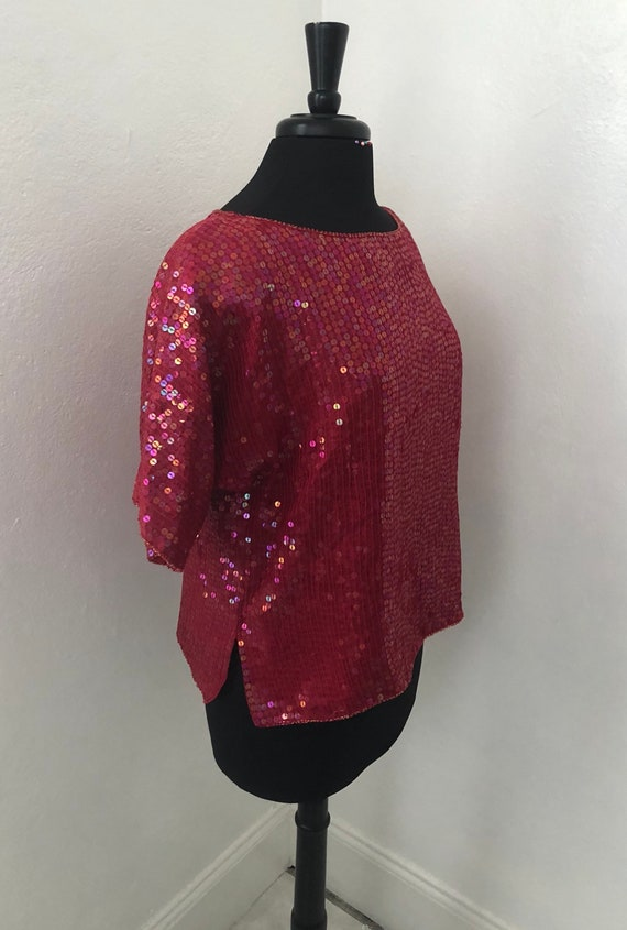 Hot Red Sequined JEWEL QUEEN 70's-80's Blouse - image 4
