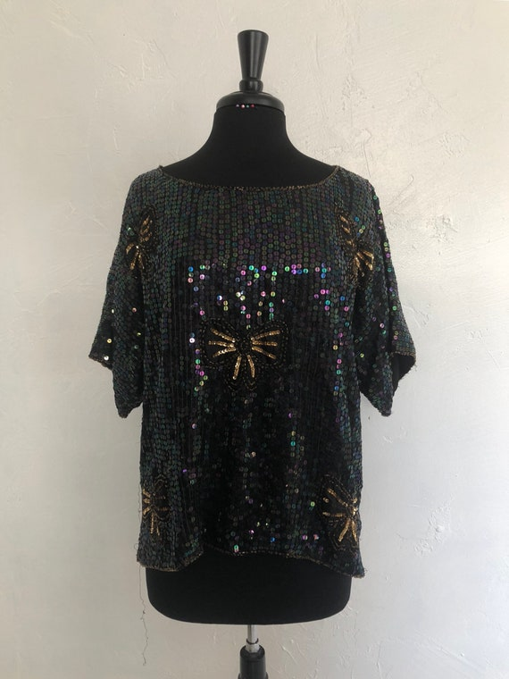 Jewel Queen 70's Sequin and Gold Bows