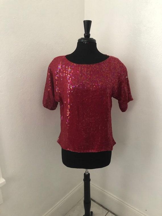 Hot Red Sequined JEWEL QUEEN 70's-80's Blouse - image 1