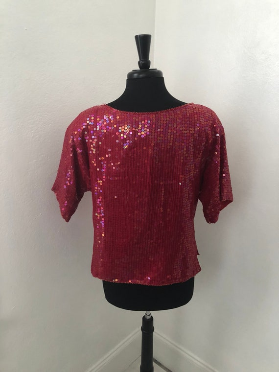 Hot Red Sequined JEWEL QUEEN 70's-80's Blouse - image 3