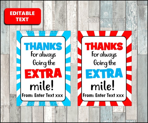 image regarding Thanks for Going the Extra Mile Printable called Because of for transferring the More mile Tag, Trainer Appreciation Present Tags, Gum Thank On your own Tag, Printable, Editable, Custom made Immediate Down load