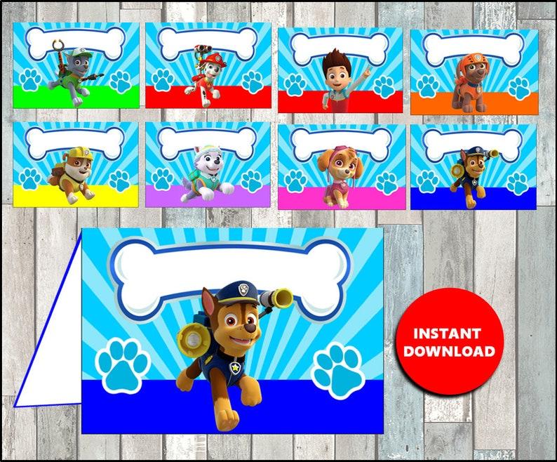 Printable Paw Patrol Food Labels Instant Download Paw Patrol Party Food Tent Cards Printable Paw Patrol Tent Cards