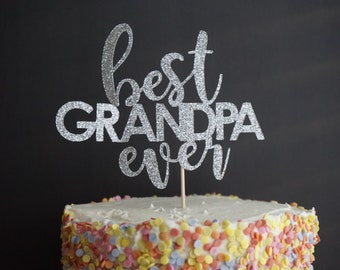 Gold Glitter Best GRANDPA Ever Cake Topper Decor