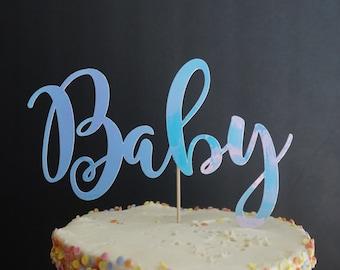 White Iridescent Baby Cake Topper. Cake Decor. Baby Shower. Baby Celebration
