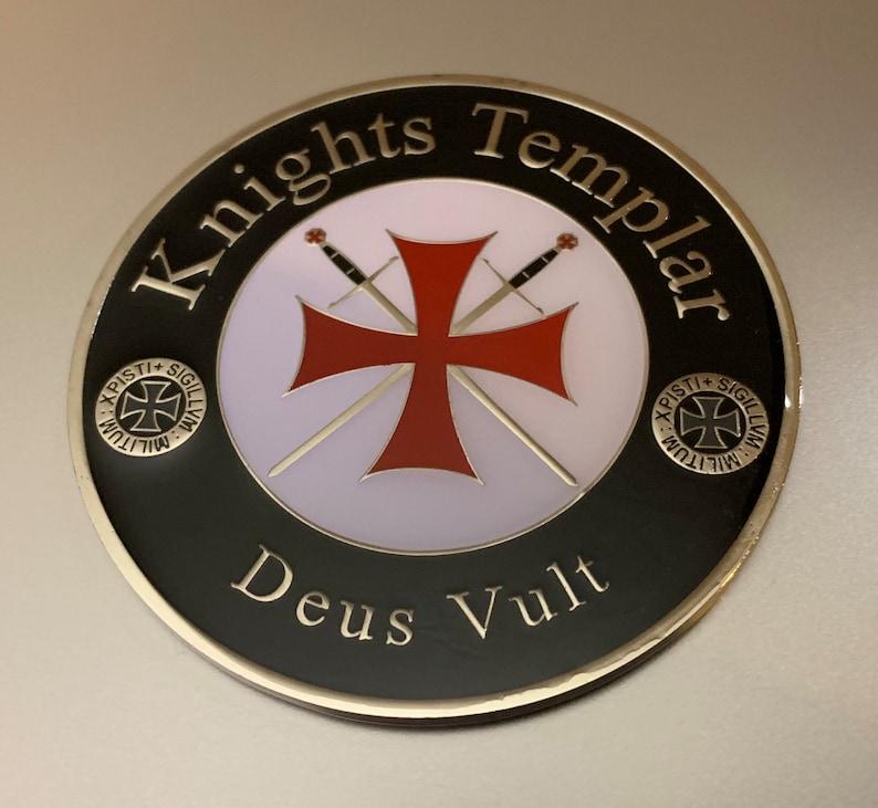 Knight Templar Auto Emblem Metallic with Adhesive backing image 0