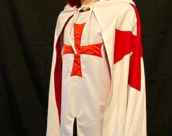 Knights Templar Mantle (Cloak) with Hood