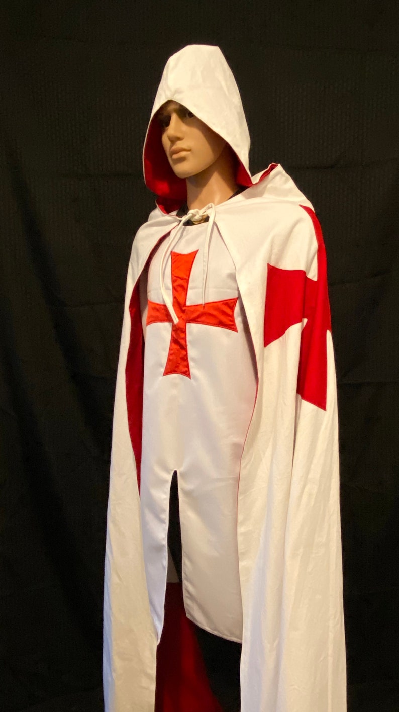 Knights Templar Mantle Cloak with Hood image 1