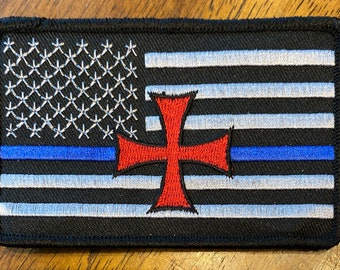 Blue Line Flag with Templar Cross Patch