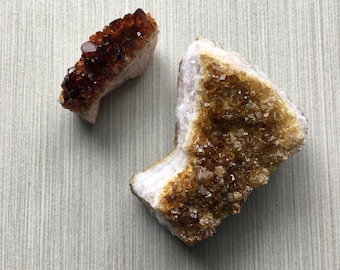 2 Gorgeous Citrine Crystal Clusters appx 7 oz total!