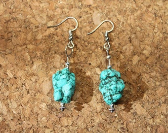 Earrings Turquoise Howlite Dangle Handmade