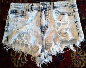 Stonewashed Denim Distressed Shorts Daisy Dukes