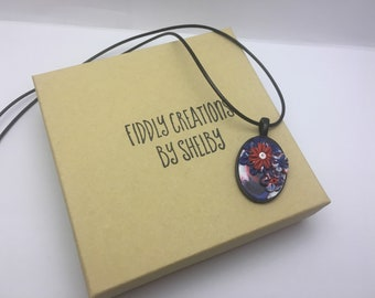 Red, White, Blue, Patriotic, Oval Polymer Clay Pendant, OOAK Necklace