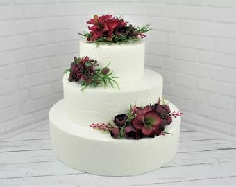 Succulent cake topper flowers Rustic wedding cake topper Boho wedding cake flowers Floral cake topper Burgundy cake topper Wire cake topper