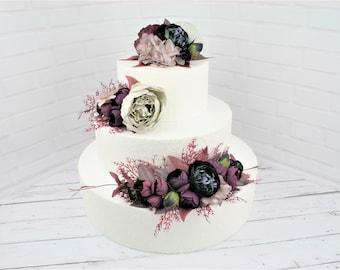 Black cake flowers Rustic wedding cake topper Boho wedding cake flowers Floral cake topper Wire cake topper flowers Burgundy cake topper